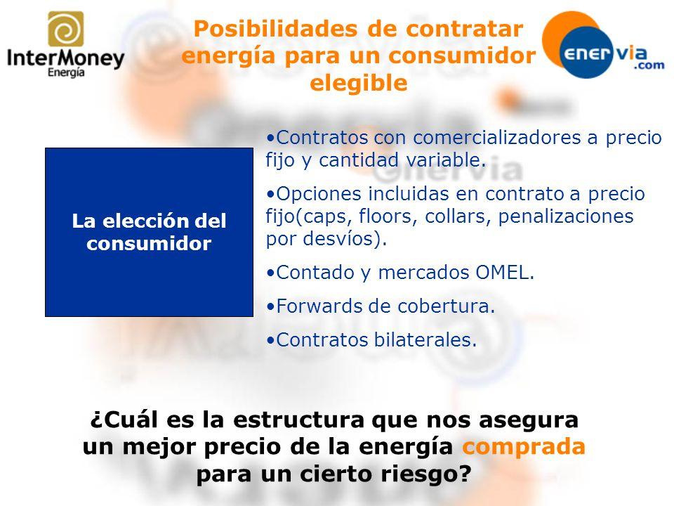 Posibilidades de contratar energía para un consumidor elegible La elección del consumidor Contratos con comercializadores a precio fijo y cantidad var