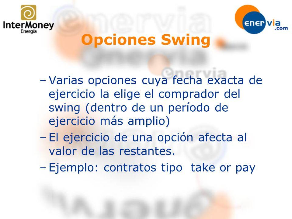 Opciones Swing –Varias opciones cuya fecha exacta de ejercicio la elige el comprador del swing (dentro de un período de ejercicio más amplio) –El ejer