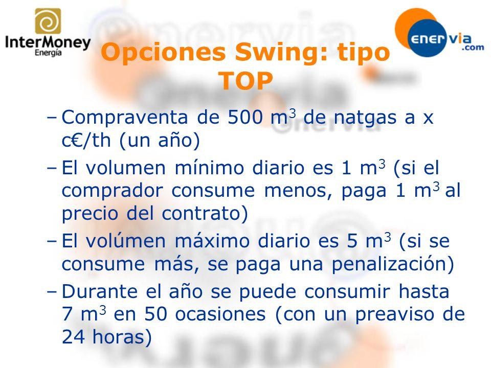 Opciones Swing: tipo TOP –Compraventa de 500 m 3 de natgas a x c/th (un año) –El volumen mínimo diario es 1 m 3 (si el comprador consume menos, paga 1