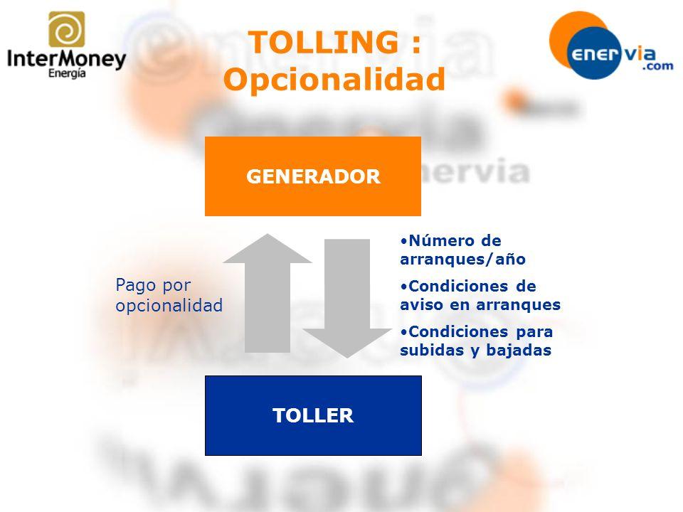 TOLLING : Opcionalidad GENERADOR TOLLER Pago por opcionalidad Número de arranques/año Condiciones de aviso en arranques Condiciones para subidas y baj