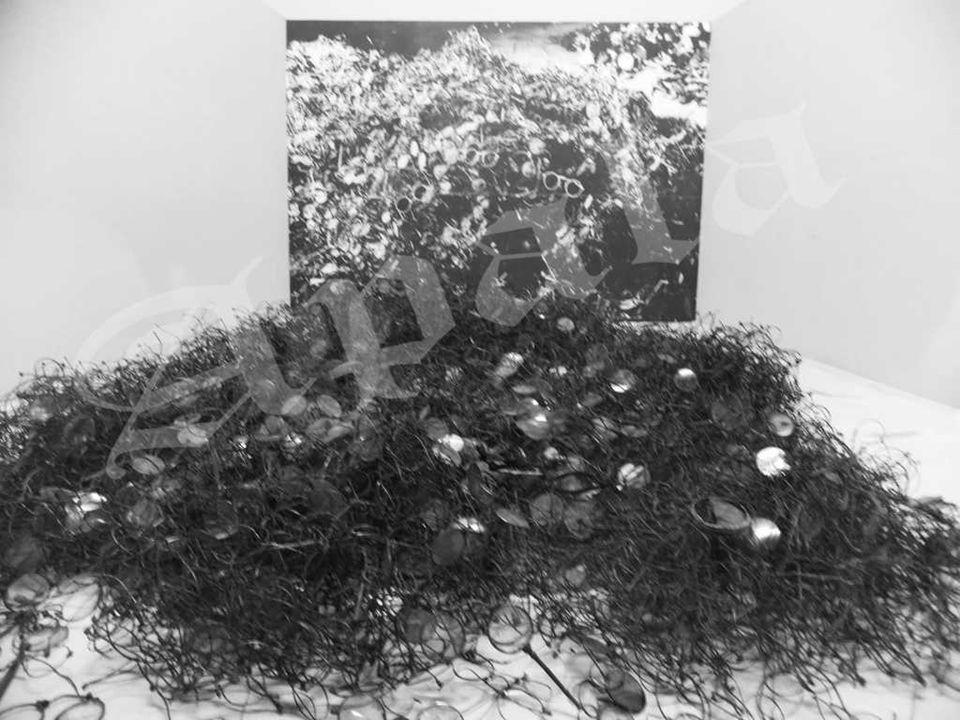 Latas de Zyklon B vacías usadas en los terrenos del campo de concentración. Hasta 1941 el Zyklon B fué de uso exclusivo para desinfección. Entre agost