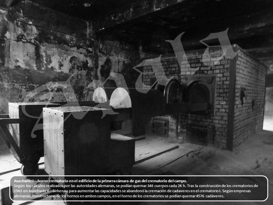 Auschwitz I – en el interior de la cámara de gas. De una sola vez puede asesinarse en ella a unos cuantos miles de personas. En el techo se encuentra