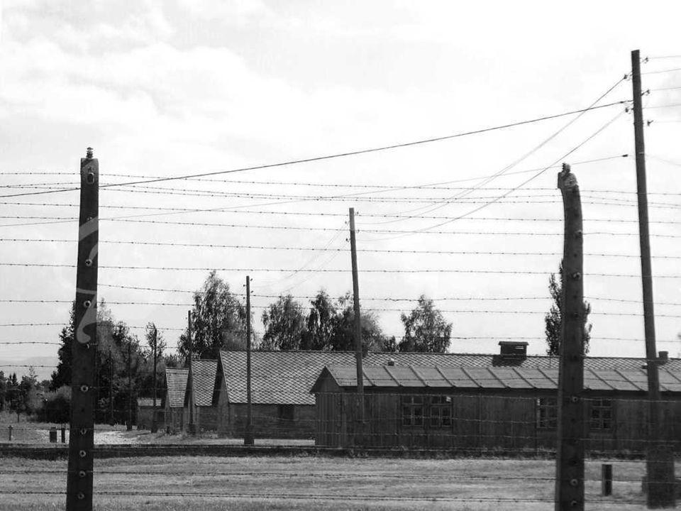 En el edificio principal del cuerpo de las SS se encuentra la puerta de la entrada al campo de Auschwitz II – Birkenau, llamada por los prisioneros la