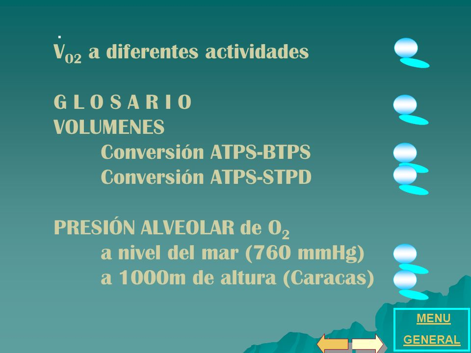 V O2 a diferentes actividades G L O S A R I O VOLUMENES Conversión ATPS-BTPS Conversión ATPS-STPD PRESIÓN ALVEOLAR de O 2 a nivel del mar (760 mmHg) a 1000m de altura (Caracas) MENU GENERAL.