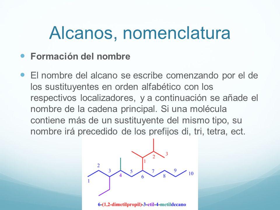 Alcanos, nomenclatura Formación del nombre El nombre del alcano se escribe comenzando por el de los sustituyentes en orden alfabético con los respectivos localizadores, y a continuación se añade el nombre de la cadena principal.