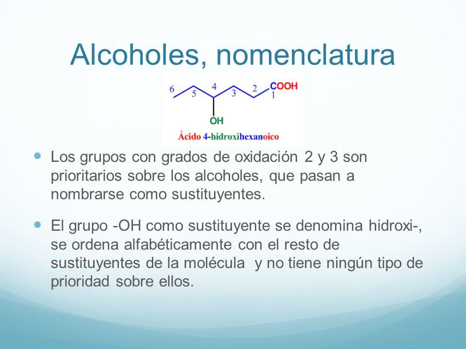Alcoholes, nomenclatura Los grupos con grados de oxidación 2 y 3 son prioritarios sobre los alcoholes, que pasan a nombrarse como sustituyentes.