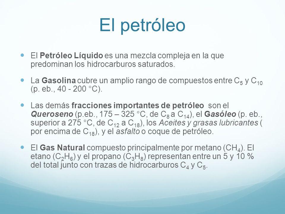 El petróleo El Petróleo Líquido es una mezcla compleja en la que predominan los hidrocarburos saturados.