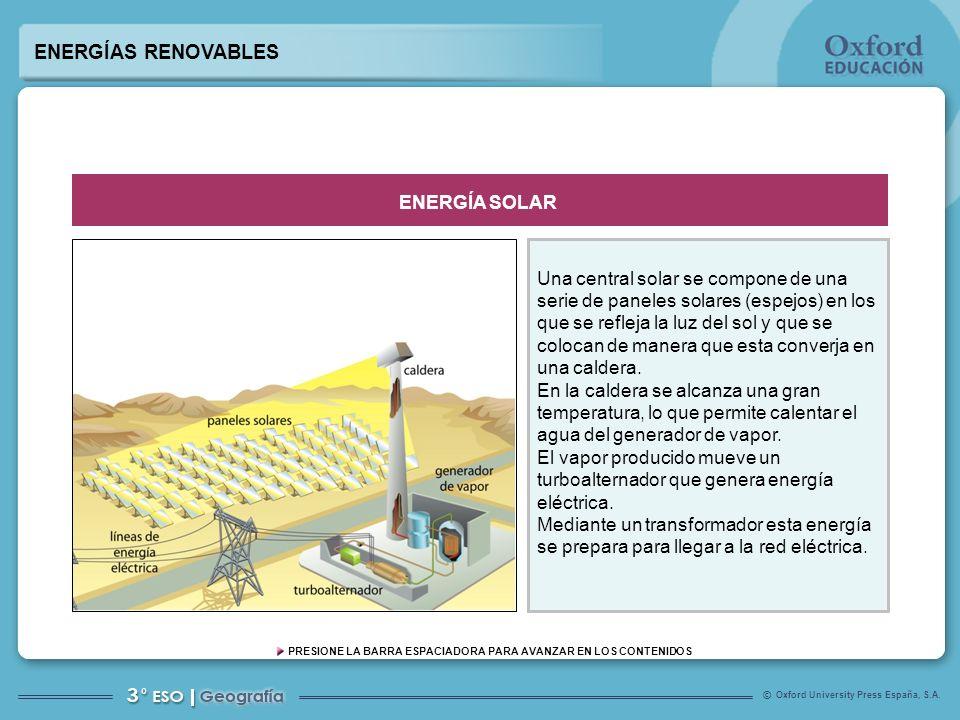 Oxford University Press España, S.A. © PRESIONE LA BARRA ESPACIADORA PARA AVANZAR EN LOS CONTENIDOS Una central solar se compone de una serie de panel