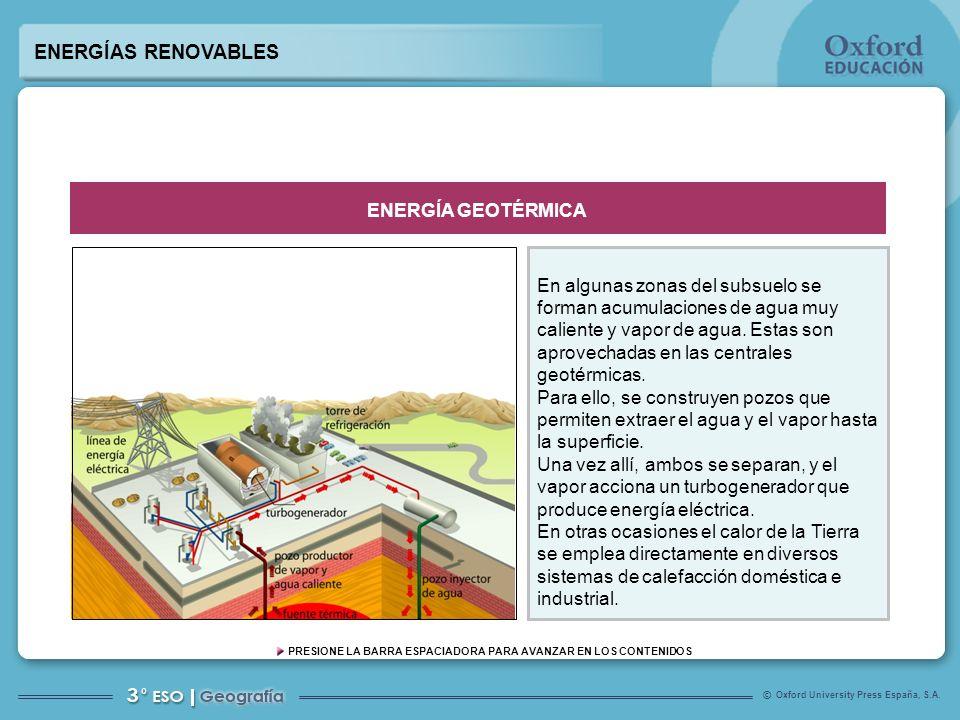 Oxford University Press España, S.A. © PRESIONE LA BARRA ESPACIADORA PARA AVANZAR EN LOS CONTENIDOS En algunas zonas del subsuelo se forman acumulacio