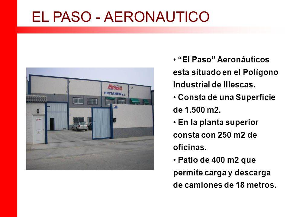 El Paso Aeronáuticos esta situado en el Polígono Industrial de Illescas. Consta de una Superficie de 1.500 m2. En la planta superior consta con 250 m2