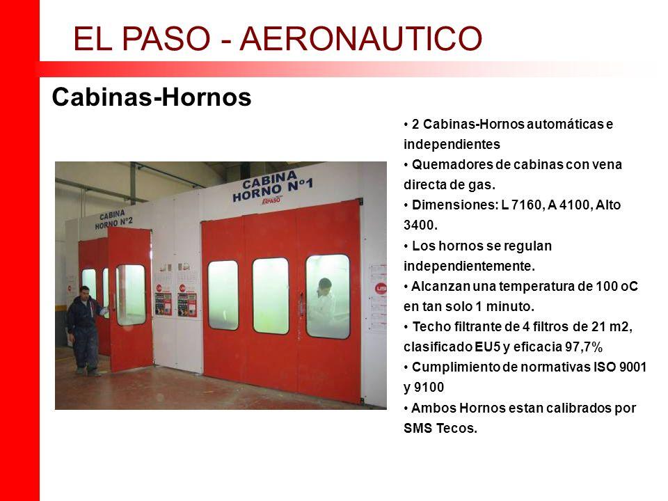 Cabinas-Hornos EL PASO - AERONAUTICO 2 Cabinas-Hornos automáticas e independientes Quemadores de cabinas con vena directa de gas. Dimensiones: L 7160,