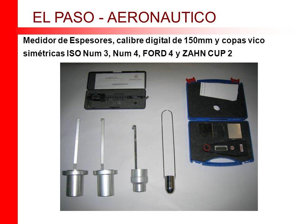 Medidor de Espesores, calibre digital de 150mm y copas vico simétricas ISO Num 3, Num 4, FORD 4 y ZAHN CUP 2 EL PASO - AERONAUTICO