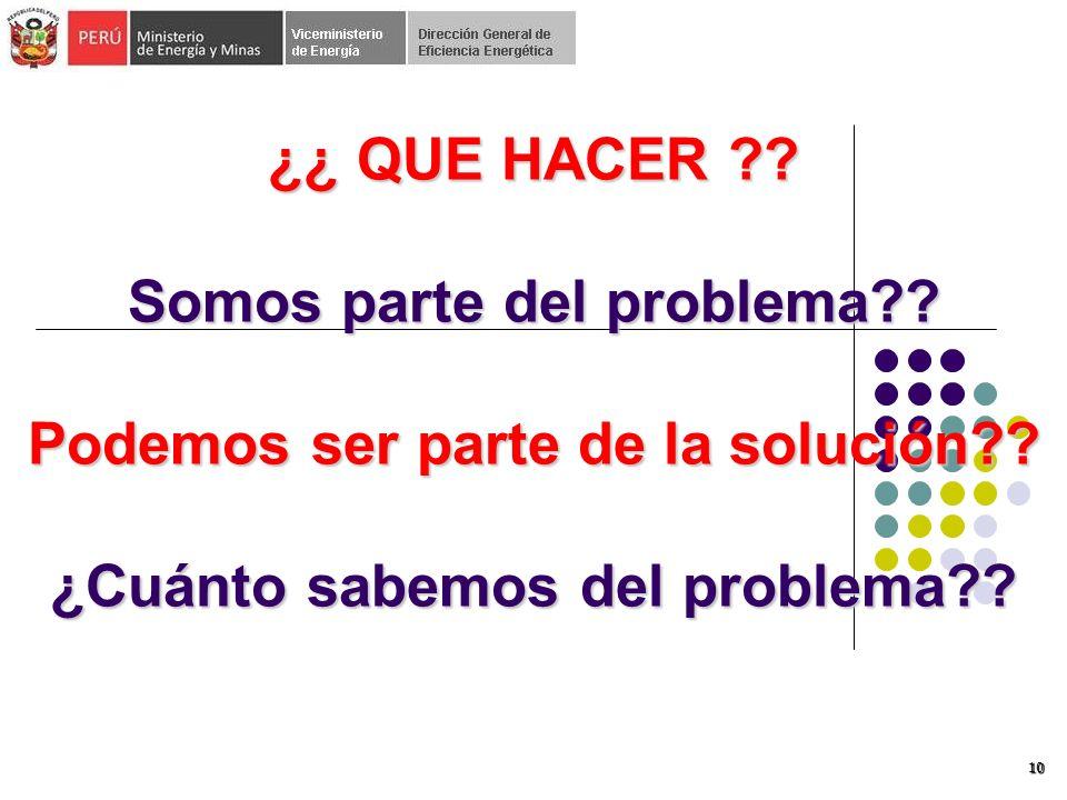 10 ¿¿ QUE HACER ?.Somos parte del problema?. Podemos ser parte de la solución?.
