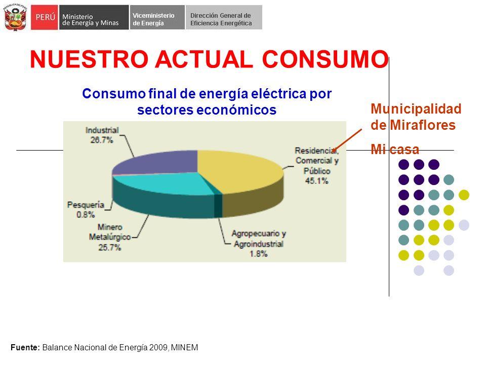NUESTRO ACTUAL CONSUMO Fuente: Balance Nacional de Energía 2009, MINEM Consumo final de energía eléctrica por sectores económicos Municipalidad de Miraflores Mi casa