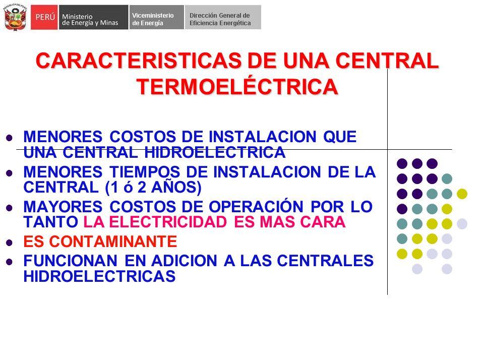 CARACTERISTICAS DE UNA CENTRAL TERMOELÉCTRICA MENORES COSTOS DE INSTALACION QUE UNA CENTRAL HIDROELECTRICA MENORES TIEMPOS DE INSTALACION DE LA CENTRAL (1 ó 2 AÑOS) MAYORES COSTOS DE OPERACIÓN POR LO TANTO LA ELECTRICIDAD ES MAS CARA ES CONTAMINANTE FUNCIONAN EN ADICION A LAS CENTRALES HIDROELECTRICAS