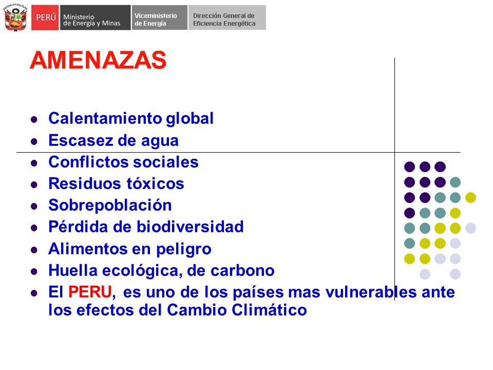 AMENAZAS Calentamiento global Escasez de agua Conflictos sociales Residuos tóxicos Sobrepoblación Pérdida de biodiversidad Alimentos en peligro Huella ecológica, de carbono El PERU, es uno de los países mas vulnerables ante los efectos del Cambio Climático