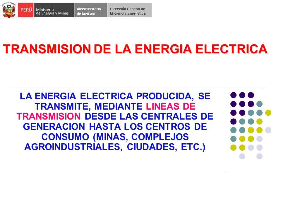 TRANSMISION DE LA ENERGIA ELECTRICA LA ENERGIA ELECTRICA PRODUCIDA, SE TRANSMITE, MEDIANTE LINEAS DE TRANSMISION DESDE LAS CENTRALES DE GENERACION HASTA LOS CENTROS DE CONSUMO (MINAS, COMPLEJOS AGROINDUSTRIALES, CIUDADES, ETC.)