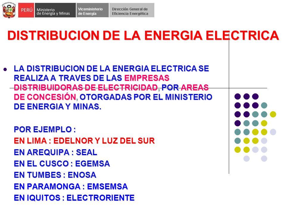 DISTRIBUCION DE LA ENERGIA ELECTRICA LA DISTRIBUCION DE LA ENERGIA ELECTRICA SE REALIZA A TRAVES DE LAS EMPRESAS DISTRIBUIDORAS DE ELECTRICIDAD, POR AREAS DE CONCESIÓN, OTORGADAS POR EL MINISTERIO DE ENERGIA Y MINAS.