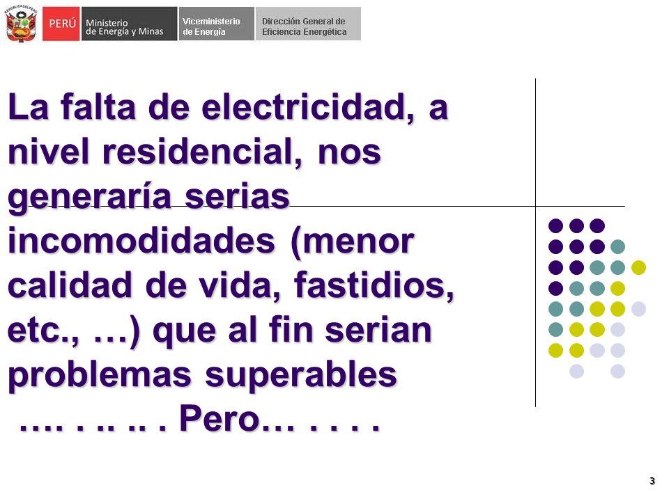 3 La falta de electricidad, a nivel residencial, nos generaría serias incomodidades (menor calidad de vida, fastidios, etc., …) que al fin serian problemas superables ….......