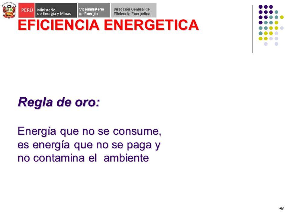 47 EFICIENCIA ENERGETICA Regla de oro: Energía que no se consume, es energía que no se paga y no contamina el ambiente