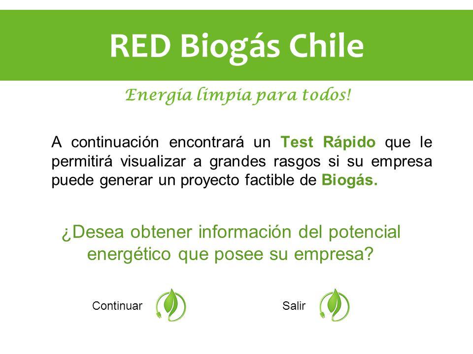 A continuación encontrará un Test Rápido que le permitirá visualizar a grandes rasgos si su empresa puede generar un proyecto factible de Biogás. Cont