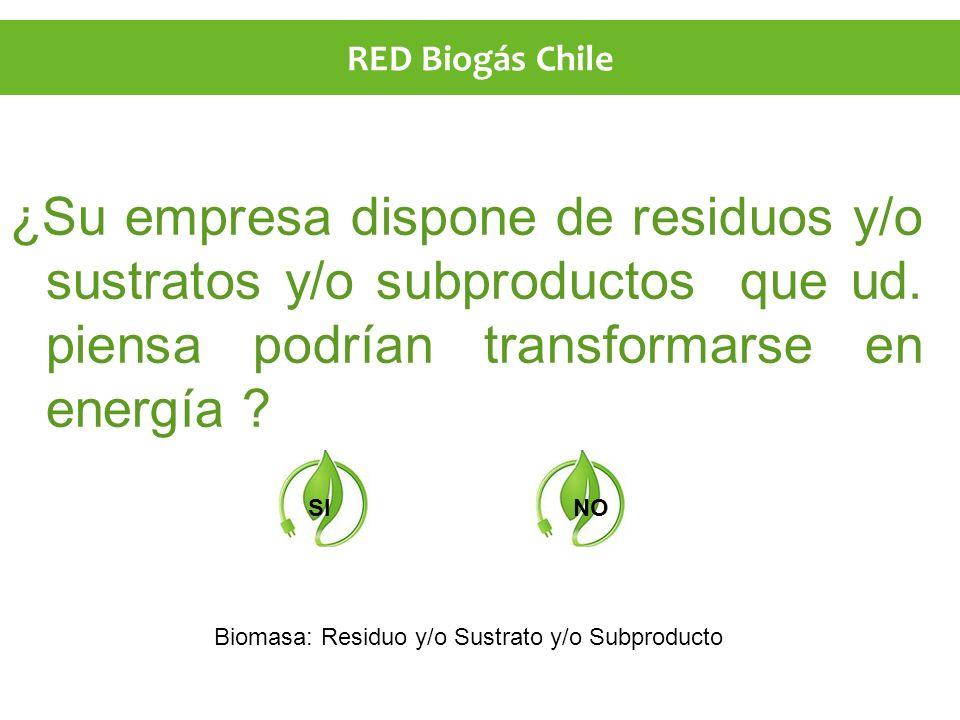 ¿Su empresa dispone de residuos y/o sustratos y/o subproductos que ud. piensa podrían transformarse en energía ? SINO Biomasa: Residuo y/o Sustrato y/