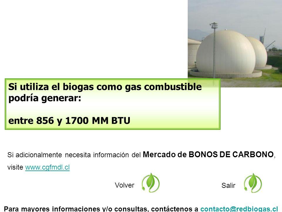 Si adicionalmente necesita información del Mercado de BONOS DE CARBONO, visite www.cgfmdl.clwww.cgfmdl.cl Volver Si utiliza el biogas como gas combustible podría generar: entre 856 y 1700 MM BTU Salir Para mayores informaciones y/o consultas, contáctenos a contacto@redbiogas.clcontacto@redbiogas.cl