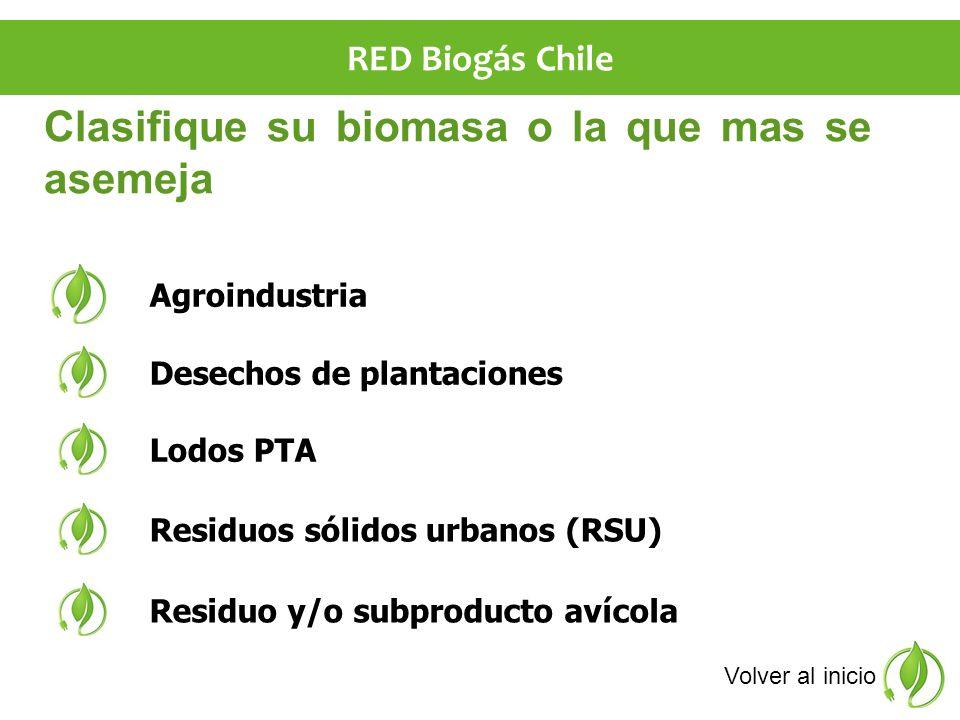 Clasifique su biomasa o la que mas se asemeja Desechos de plantaciones Agroindustria Lodos PTA Residuos sólidos urbanos (RSU) Residuo y/o subproducto avícola Volver al inicio RED Biogás Chile