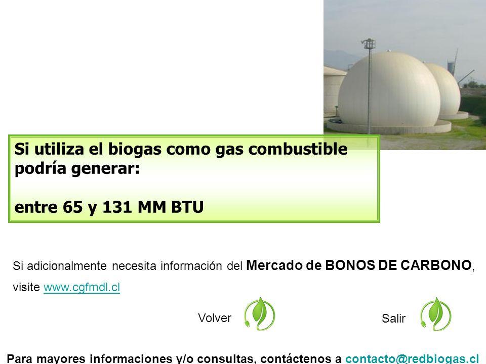 Si adicionalmente necesita información del Mercado de BONOS DE CARBONO, visite www.cgfmdl.clwww.cgfmdl.cl Volver Si utiliza el biogas como gas combustible podría generar: entre 65 y 131 MM BTU Salir Para mayores informaciones y/o consultas, contáctenos a contacto@redbiogas.clcontacto@redbiogas.cl