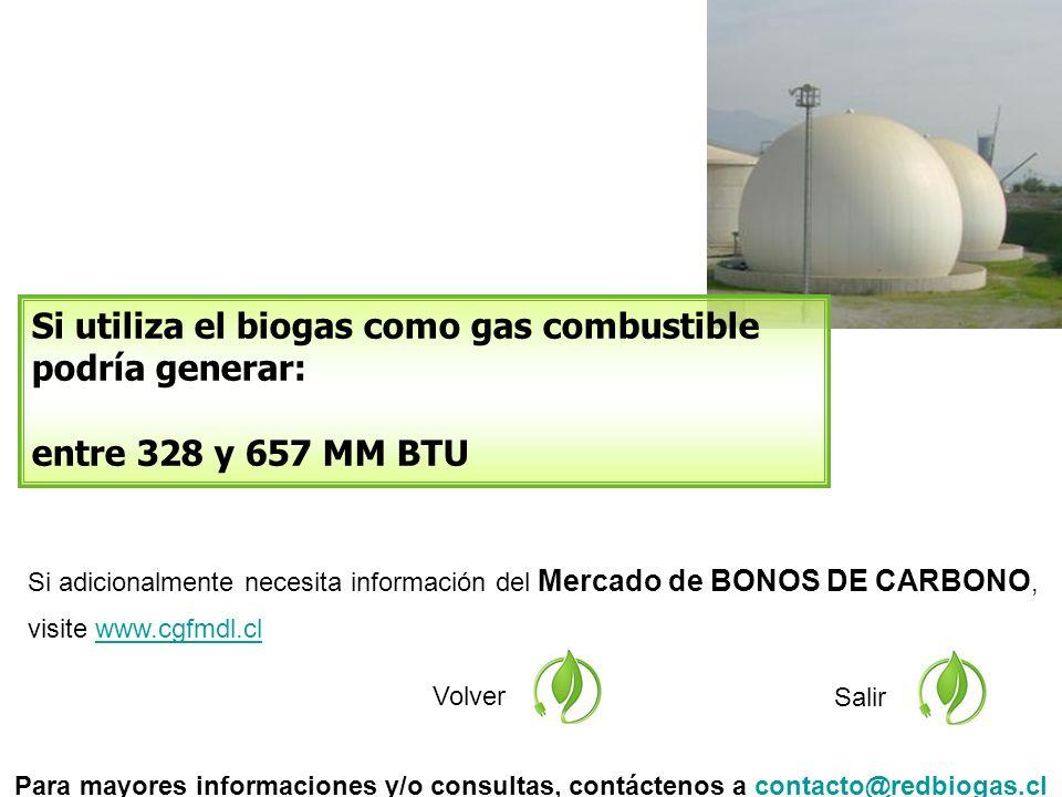 Si adicionalmente necesita información del Mercado de BONOS DE CARBONO, visite www.cgfmdl.clwww.cgfmdl.cl Volver Si utiliza el biogas como gas combustible podría generar: entre 328 y 657 MM BTU Salir Para mayores informaciones y/o consultas, contáctenos a contacto@redbiogas.clcontacto@redbiogas.cl