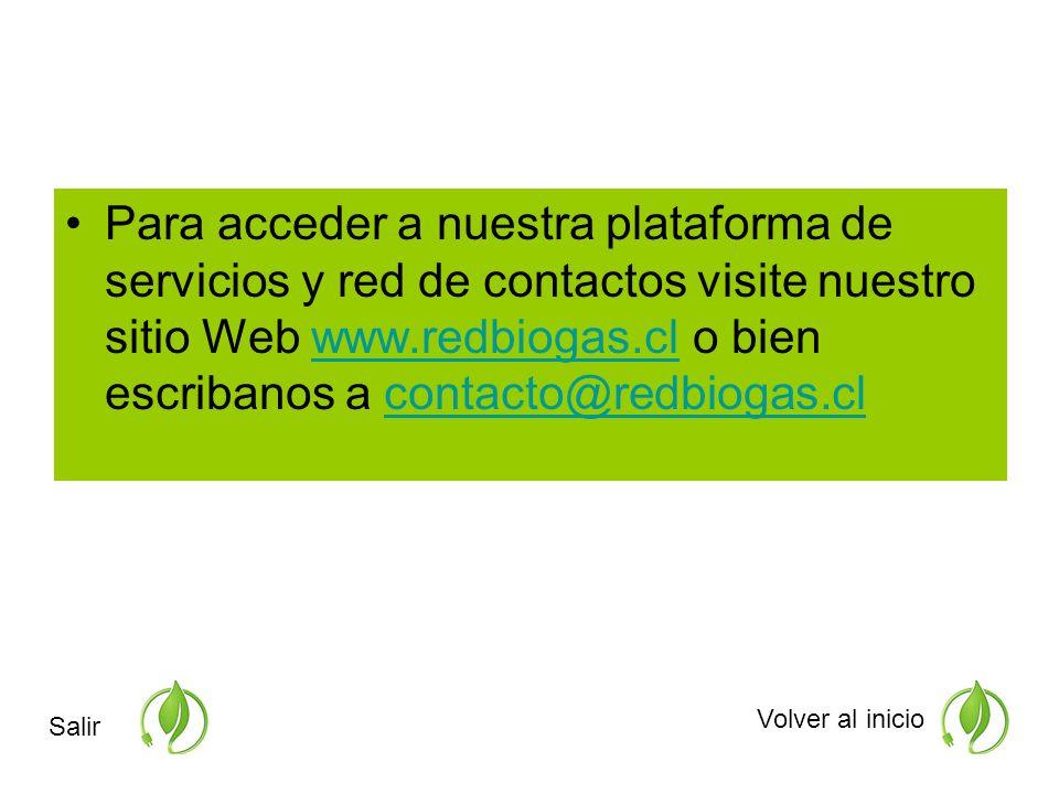 Para acceder a nuestra plataforma de servicios y red de contactos visite nuestro sitio Web www.redbiogas.cl o bien escribanos a contacto@redbiogas.clwww.redbiogas.clcontacto@redbiogas.cl Volver al inicio Salir