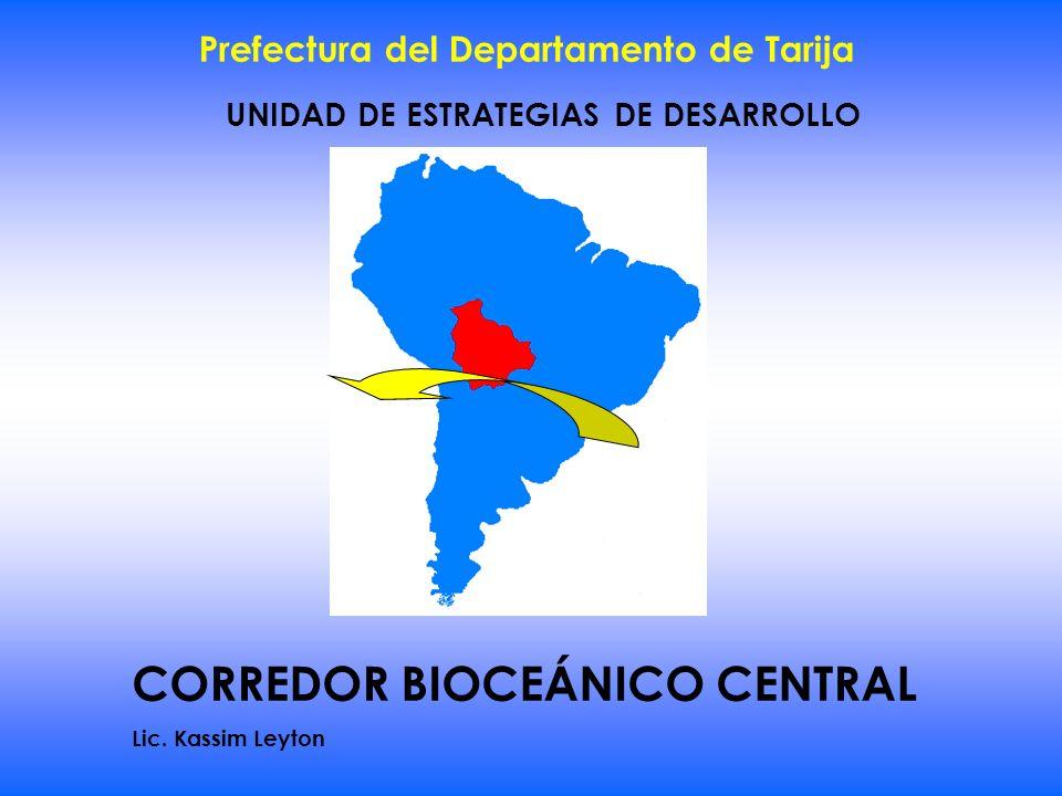 UNIDAD DE ESTRATEGIAS DE DESARROLLO Prefectura del Departamento de Tarija CORREDOR BIOCEÁNICO CENTRAL Lic. Kassim Leyton