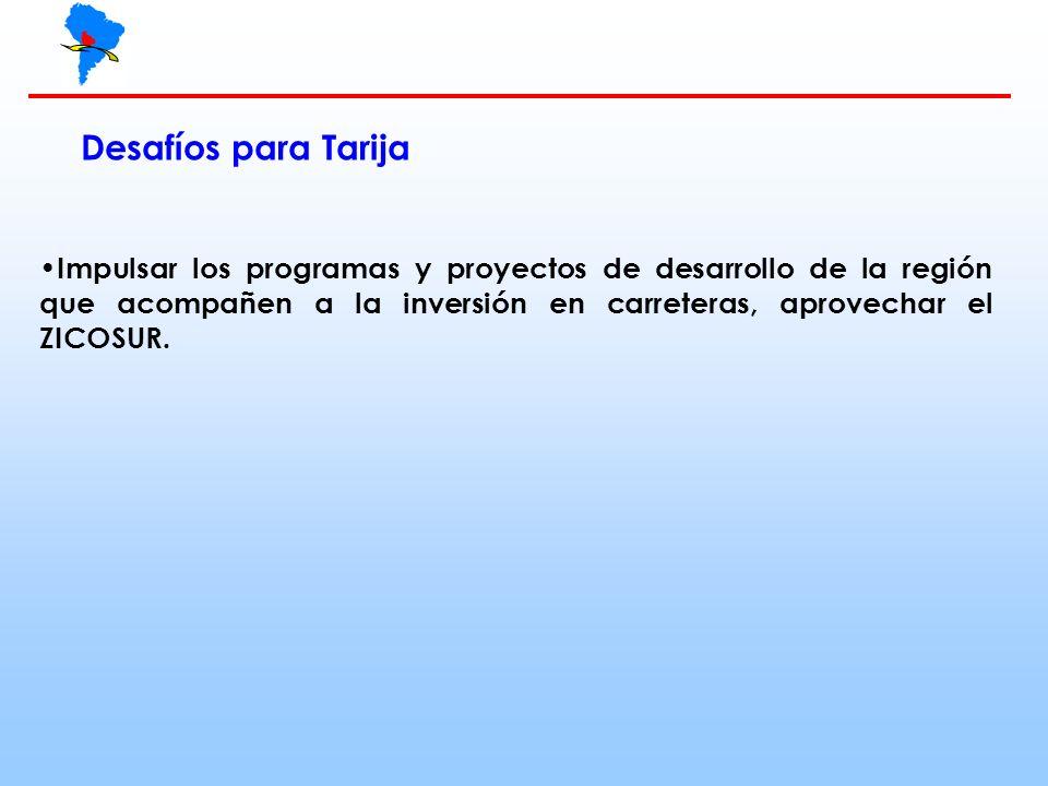 Desafíos para Tarija Impulsar los programas y proyectos de desarrollo de la región que acompañen a la inversión en carreteras, aprovechar el ZICOSUR.