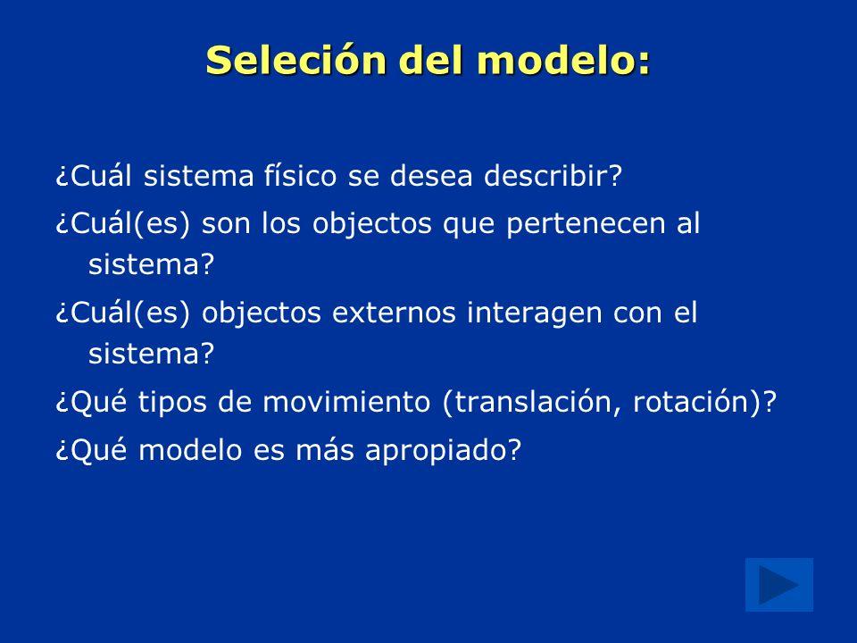 Seleción del modelo: ¿ Cuál sistema físico se desea describir.