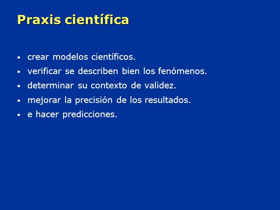 Praxis científica crear modelos científicos.verificar se describen bien los fenómenos.