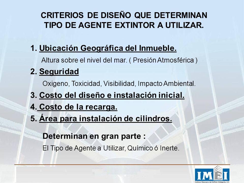 CRITERIOS DE DISEÑO QUE DETERMINAN TIPO DE AGENTE EXTINTOR A UTILIZAR. 1. Ubicación Geográfica del Inmueble. Altura sobre el nivel del mar. ( Presión