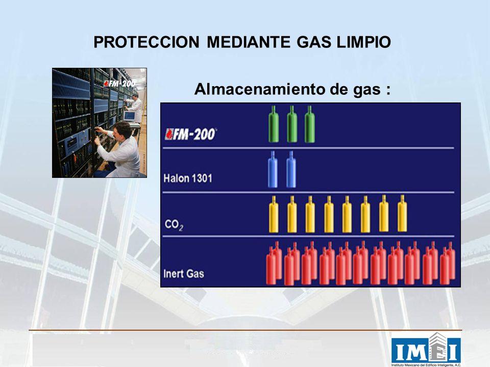 PROTECCION MEDIANTE GAS LIMPIO Almacenamiento de gas :