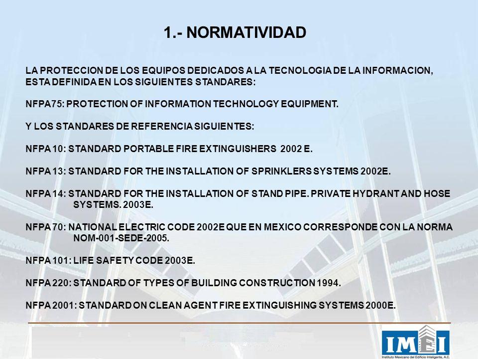 1.- NORMATIVIDAD LA PROTECCION DE LOS EQUIPOS DEDICADOS A LA TECNOLOGIA DE LA INFORMACION, ESTA DEFINIDA EN LOS SIGUIENTES STANDARES: NFPA75: PROTECTION OF INFORMATION TECHNOLOGY EQUIPMENT.