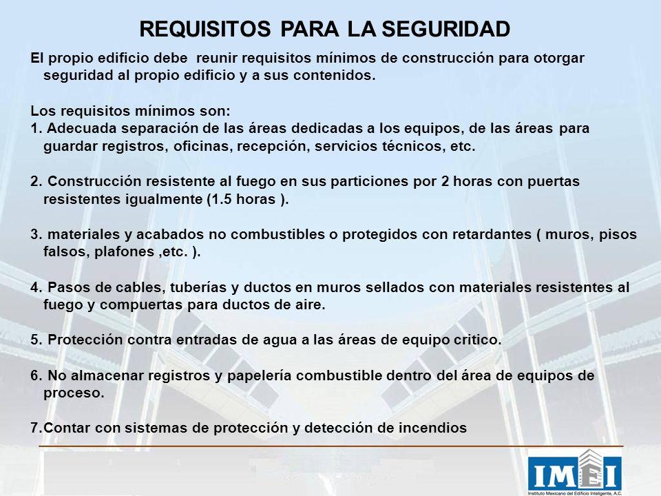 REQUISITOS PARA LA SEGURIDAD El propio edificio debe reunir requisitos mínimos de construcción para otorgar seguridad al propio edificio y a sus contenidos.
