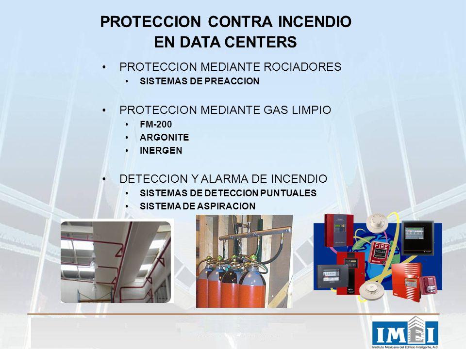 PROTECCION CONTRA INCENDIO EN DATA CENTERS PROTECCION MEDIANTE ROCIADORES SISTEMAS DE PREACCION PROTECCION MEDIANTE GAS LIMPIO FM-200 ARGONITE INERGEN