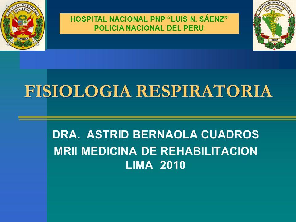FISIOLOGIA RESPIRATORIA DRA. ASTRID BERNAOLA CUADROS MRII MEDICINA DE REHABILITACION LIMA 2010 HOSPITAL NACIONAL PNP LUIS N. SÁENZ POLICIA NACIONAL DE