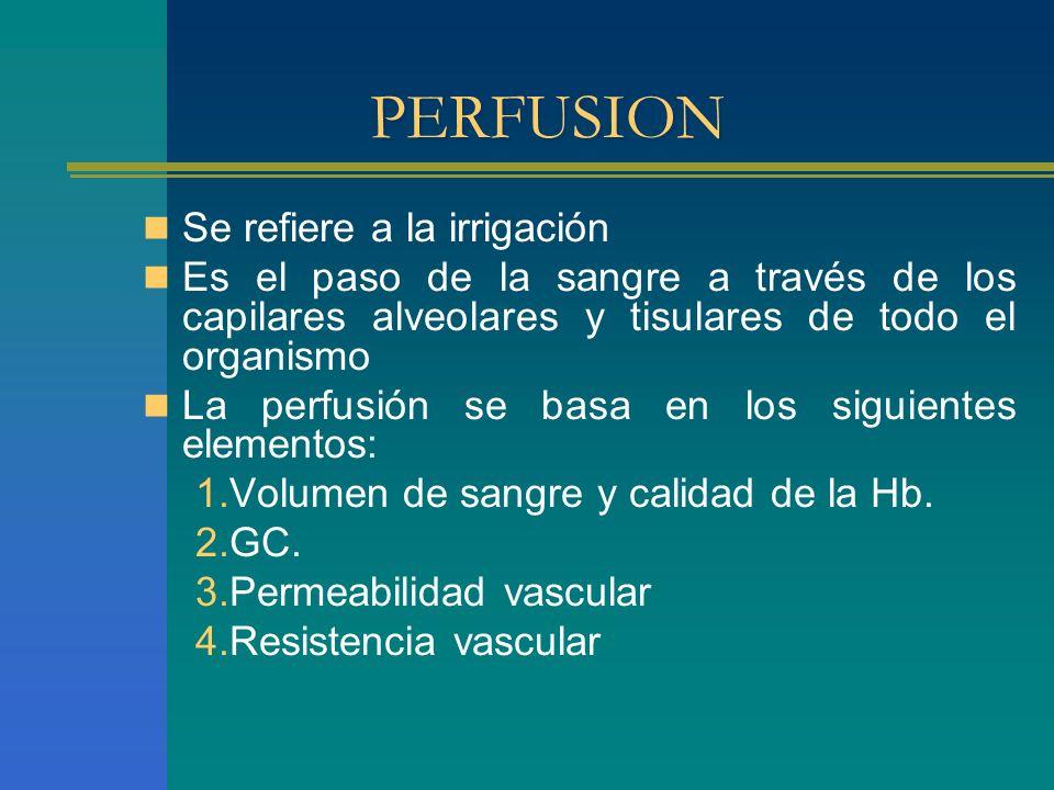 PERFUSION Se refiere a la irrigación Es el paso de la sangre a través de los capilares alveolares y tisulares de todo el organismo La perfusión se bas