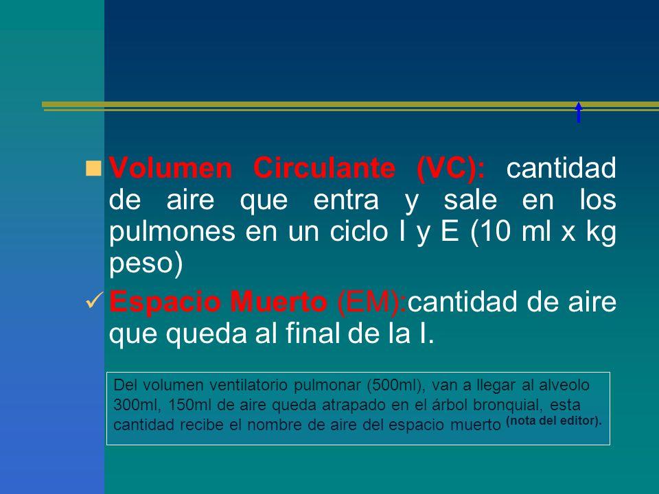 Volumen Circulante (VC): cantidad de aire que entra y sale en los pulmones en un ciclo I y E (10 ml x kg peso) Espacio Muerto (EM):cantidad de aire qu