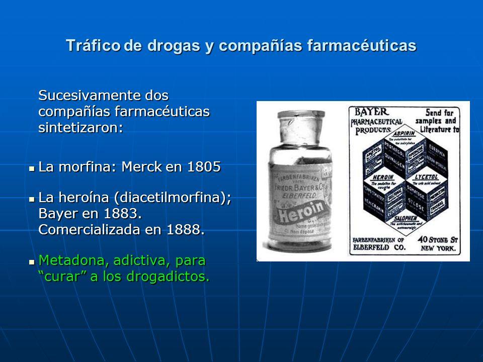 Tráfico de drogas y compañías farmacéuticas Sucesivamente dos compañías farmacéuticas sintetizaron: La morfina: Merck en 1805 La morfina: Merck en 1805 La heroína (diacetilmorfina); Bayer en 1883.