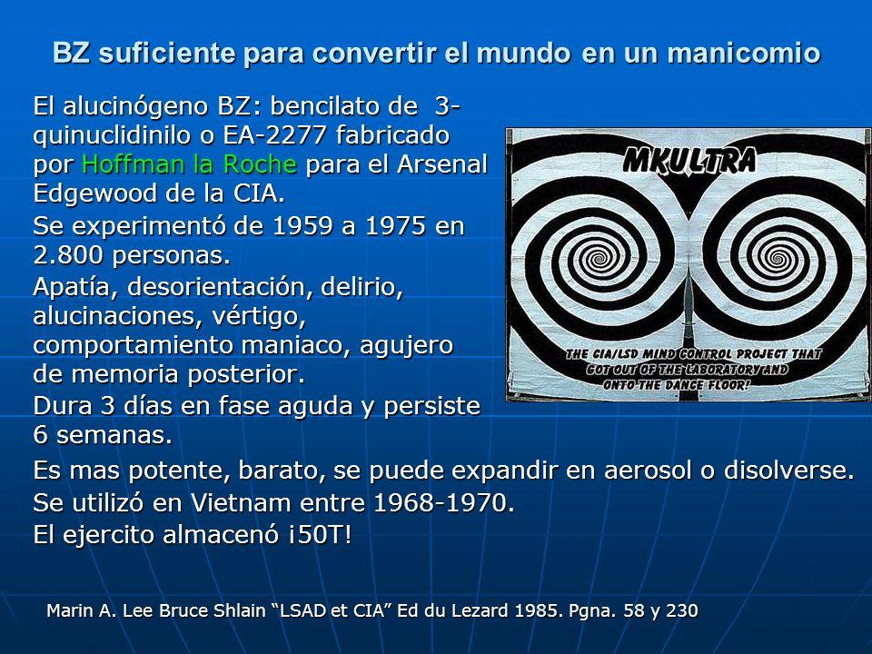 BZ suficiente para convertir el mundo en un manicomio El alucinógeno BZ: bencilato de 3- quinuclidinilo o EA-2277 fabricado por Hoffman la Roche para el Arsenal Edgewood de la CIA.