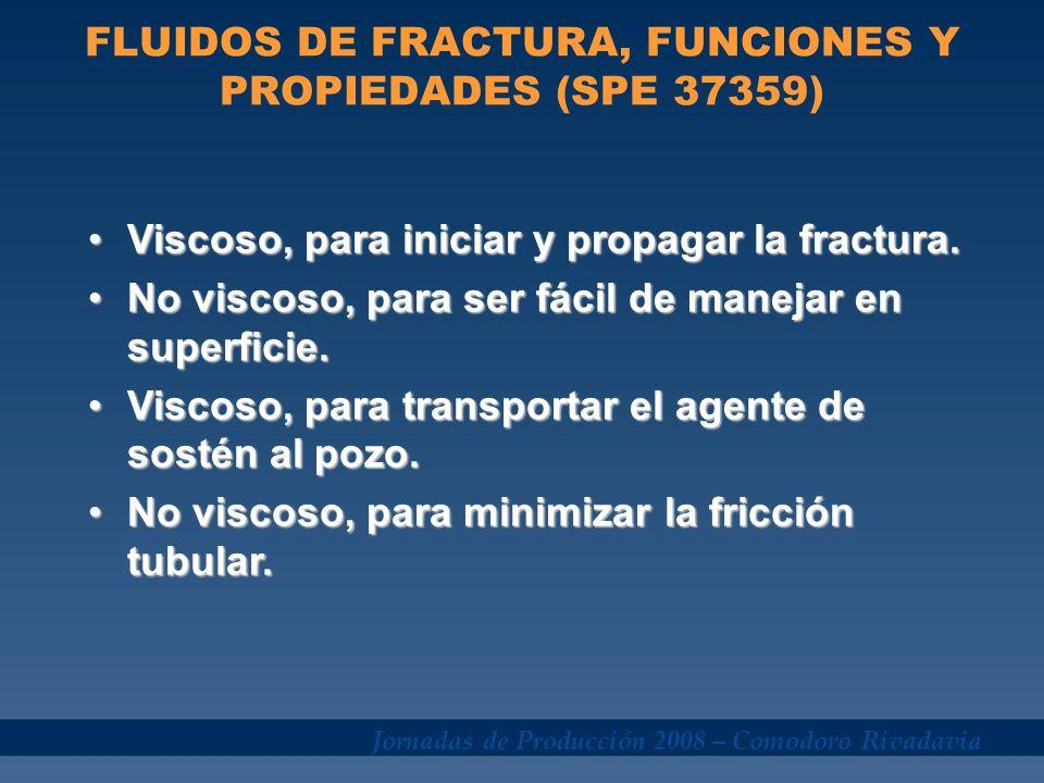 Jornadas de Producción 2008 – Comodoro Rivadavia FLUIDOS DE FRACTURA, FUNCIONES Y PROPIEDADES (SPE 37359) Viscoso, para iniciar y propagar la fractura