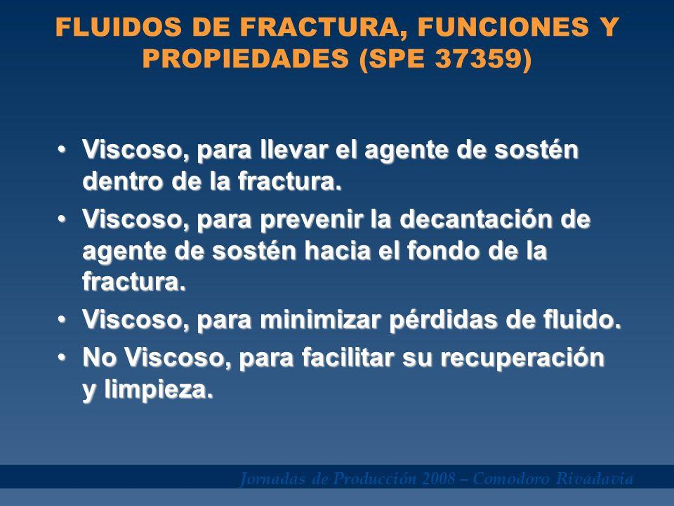 Jornadas de Producción 2008 – Comodoro Rivadavia FLUIDOS DE FRACTURA, FUNCIONES Y PROPIEDADES (SPE 37359) Viscoso, para llevar el agente de sostén den