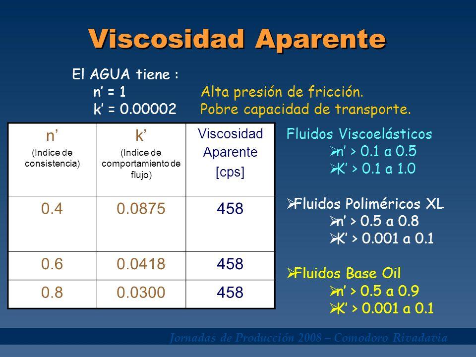 Jornadas de Producción 2008 – Comodoro Rivadavia Viscosidad Aparente n (Indice de consistencia) k (Indice de comportamiento de flujo) Viscosidad Apare