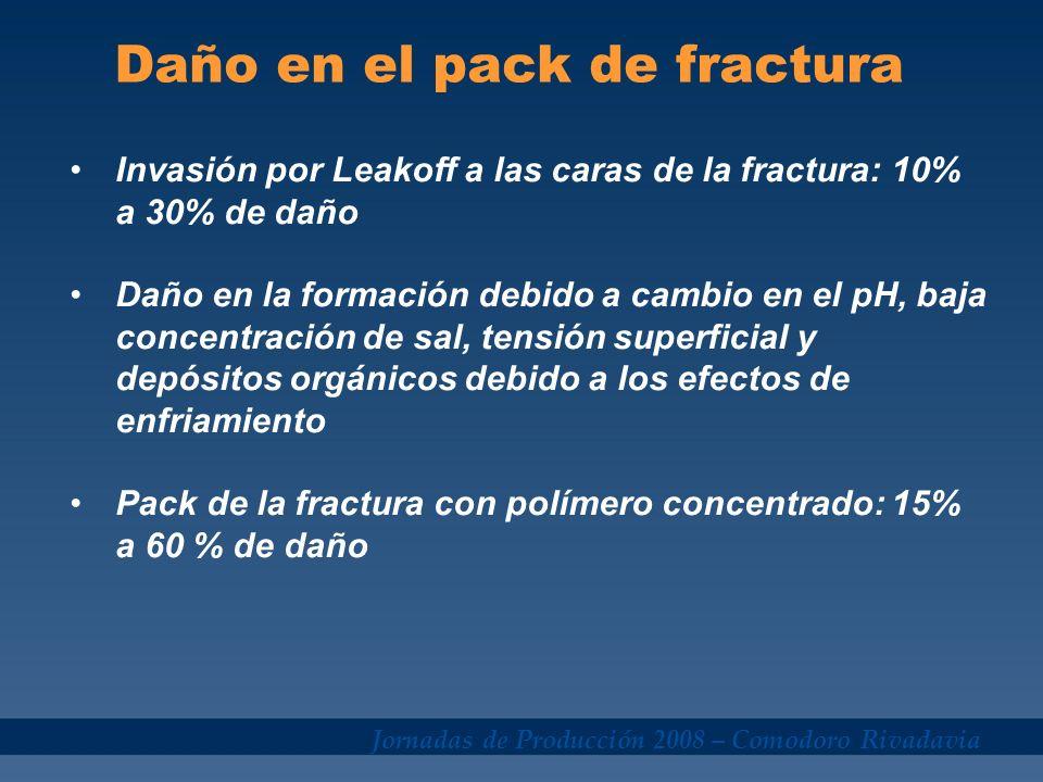 Jornadas de Producción 2008 – Comodoro Rivadavia Daño en el pack de fractura Invasión por Leakoff a las caras de la fractura: 10% a 30% de daño Daño e