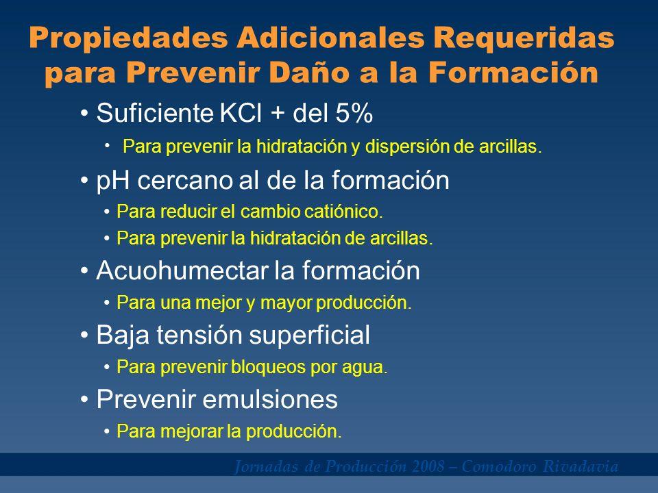 Jornadas de Producción 2008 – Comodoro Rivadavia Propiedades Adicionales Requeridas para Prevenir Daño a la Formación Suficiente KCl + del 5% Para pre